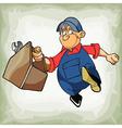 cartoon plumber man in uniform is running vector image vector image