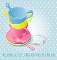 colorful of coffee cups on polka dot pattern vector image vector image