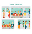 commuters subway design vector image vector image