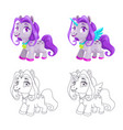 cute little horse and unicorn icons colorful and vector image vector image
