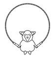 cute sheep jumpin rope childish character vector image