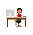 cute young girl sitting at desk and working on vector image