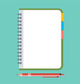 empty notepad with pen vector image vector image