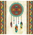 Ethnic background with dreamcatcher in navajo vector image