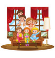 family together on couch vector image
