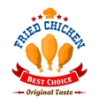 Fast food fried chicken legs badge for menu design vector image vector image