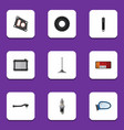flat icon auto set of heater input technology vector image vector image