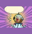 funny angry woman astronaut vector image vector image