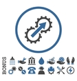 Gear Integration Flat Rounded Icon with vector image vector image