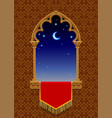 gothic decorative window with red banner and vector image vector image