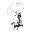 greeting card design cheerful lama vector image vector image