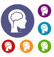 head with brain icons set vector image vector image