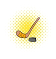Hockey icon in comics style vector image vector image