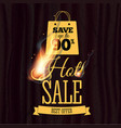hot sale badge design template with realistic fire vector image vector image