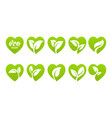 icon set eco heart vector image