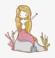 little mermaid cartoon vector image vector image