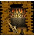 live music brick wall saxophone and guitar vector image