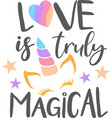 love is truly magical isolated on white vector image vector image