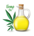 natural hemp oil icons set flask and glass bottle vector image vector image