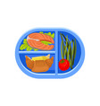 plastic oval tray with salmon fish on lettuce leaf vector image vector image
