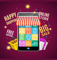 realistic detailed 3d mobile phone shopping online vector image