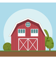 red farm house flat style vector image vector image