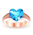 Ring with topaz heart shaped vector image