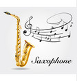Saxophone and music notes on poster vector image vector image