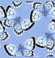 seamless pattern with blue watercolor butterflies vector image vector image