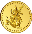 shiny gold coin with the image of dancing and play vector image vector image