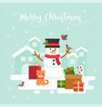 snowman winter theme background for christmas vector image vector image