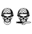 soldier skull with knife design element vector image vector image