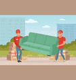 strong guys carrying sofa cartoon couriers vector image
