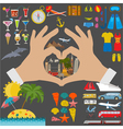 Travel Vacations Beach resort set icons Elements vector image vector image
