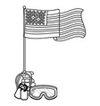 united state flag with grenade black and white vector image vector image