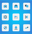 user icons colored set with camera trend privacy vector image vector image