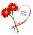 valentines day background two red flowers vector image vector image
