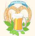 Vintage poster or greeting card for Oktoberfest vector image vector image