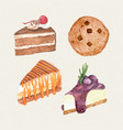watercolor hand painted sweet and tasty cake vector image vector image