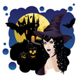 Witch and Bats2 vector image vector image
