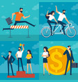 young man and woman doing business vector image vector image