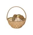 Basket of mushrooms icon cartoon style vector image