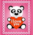 valentines day background card with panda vector image