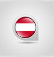 austria flag map pointer design vector image vector image