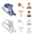 basketball and attributes cartoonoutline icons in vector image vector image