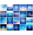 big set 20 square blurred nature dark blue vector image vector image