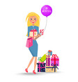 blonde woman with presents flowers on 8 march vector image vector image