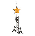 businessman climbing wooden stairs to reach a star vector image vector image