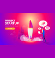 businessman launches rocket into the sky business vector image