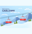 cable car in mountains cableway cabins lifting vector image vector image